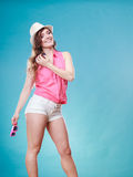 Charming woman in summer clothes straw hat Royalty Free Stock Photos