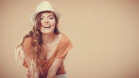 Charming woman in summer clothes straw hat Stock Images