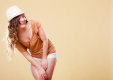 Charming woman in summer clothes straw hat Stock Photography