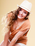 Charming woman in summer clothes straw hat Royalty Free Stock Photography
