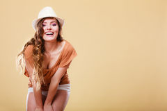Charming woman in summer clothes straw hat Stock Photos