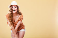 Charming woman in summer clothes straw hat Royalty Free Stock Images