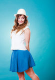 Charming woman in summer clothes straw hat Royalty Free Stock Image