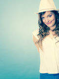 Charming woman in summer clothes straw hat Stock Image