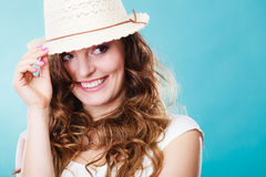 Charming woman in summer straw hat Stock Photo