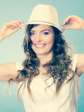 Charming woman in summer straw hat Royalty Free Stock Photography