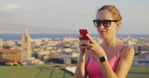 Charming woman tourist social networking stock video