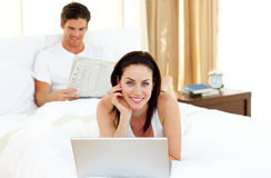 Charming woman using laptop Royalty Free Stock Photo
