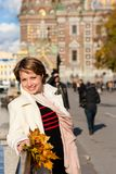 Charming  woman on a walk Royalty Free Stock Image