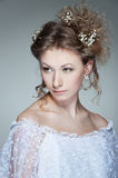 Charming woman in white dress Royalty Free Stock Photo