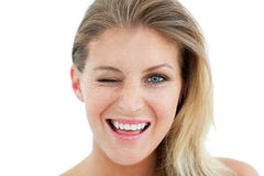 Charming Woman winking Stock Image