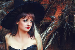 Charming woman in a witch hat Royalty Free Stock Image