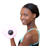 Charming woman working out with dumbbell Royalty Free Stock Photos