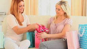 Charming women compairing their shopping stock video