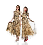 Charming women posing in dresses from same cloth Royalty Free Stock Image