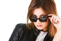 Charming youn girl in sunglasses Stock Photography