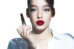 Charming young babe with lipstick. Stock Photos