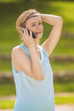 Charming Young Blond Woman Close-up Portrait in Blue Dress Stock Photography