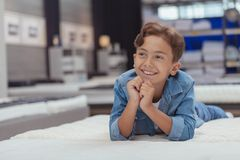Charming young boy at the furniture store royalty free stock photography
