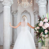 Charming young bride in luxurious wedding dress. Pretty girl, back Stock Image
