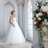 Charming young bride in luxurious wedding dress. Pretty girl, is near big window Royalty Free Stock Photo