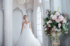 Charming young bride in luxurious wedding dress. Pretty girl, is near big window Royalty Free Stock Image