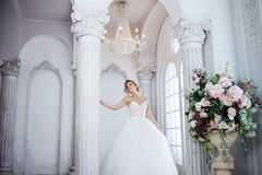 Charming young bride in luxurious wedding dress. Pretty girl, the photo Studio Stock Photo