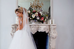 Charming young bride in luxurious wedding dress. Pretty girl, photo Studio Stock Image