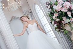 Charming young bride in luxurious wedding dress. Pretty girl, the photo Studio Stock Images