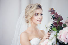 Charming young bride in luxurious wedding dress. Pretty girl, the photo Studio Royalty Free Stock Photography