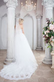 Charming young bride in luxurious wedding dress. Pretty girl, the photo Studio Royalty Free Stock Photos