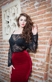 Charming young brunette woman in black lace blouse, red skirt and high heels near the brick wall. Sexy gorgeous young woman Stock Photos