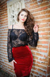 Charming young brunette woman in black lace blouse, red skirt and high heels near the brick wall. Sexy gorgeous young woman Royalty Free Stock Photos