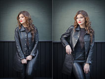Charming young brunette woman in black leather outfit, coat and trousers, with dark gray wall on background. Sexy gorgeous woman Stock Photo