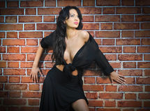 Charming young brunette woman in black near the brick wall Royalty Free Stock Photography