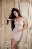 Charming young brunette woman in tight fit short nude dress leaning against wooden wall. Sexy gorgeous long hair girl Stock Images