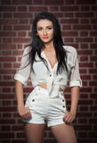 Charming young brunette woman in white shorts and shirt with red brick wall in background. Sexy gorgeous fashionable girl Stock Image