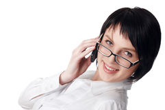The charming young business woman in a white shirt Royalty Free Stock Photography