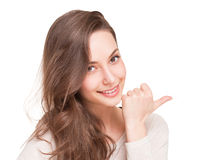 Charming young expressive brunette. Royalty Free Stock Photography