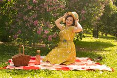 A charming young girl enjoys a rest and a picnic on the green summer grass alone. pretty woman have a holiday. A charming pin up vintage retro young girl enjoys stock photography
