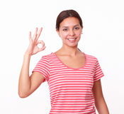 Charming young girl with great job gesture Stock Photography