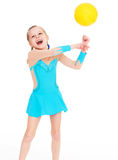 Charming young girl gymnast. Stock Photos