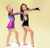 Charming young girl gymnasts posing tracksuits. Royalty Free Stock Photos