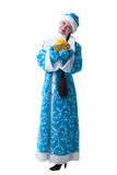 Charming young girl posing in suit of Snow Maiden Stock Photo