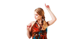 Charming young lady in colorful dress Royalty Free Stock Photos