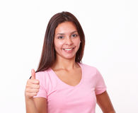 Charming young lady with ok sign Royalty Free Stock Photography