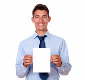 Charming young man holding a blank card Stock Images