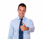 Charming young man with positive thumb Royalty Free Stock Image