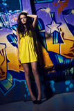 Charming young model and the graffity Royalty Free Stock Photography