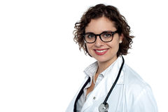 Charming young physician on white background Royalty Free Stock Photo